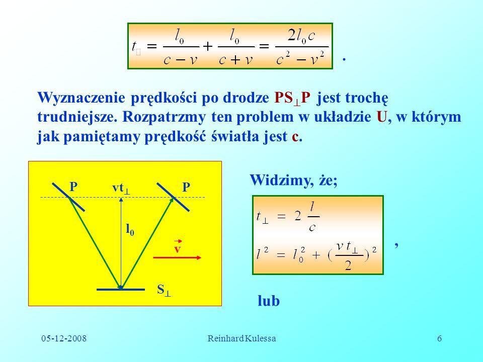 . Wyznaczenie prędkości po drodze PSP jest trochę trudniejsze. Rozpatrzmy ten problem w układzie U, w którym jak pamiętamy prędkość światła jest c.