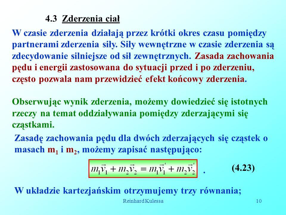 W układzie kartezjańskim otrzymujemy trzy równania;