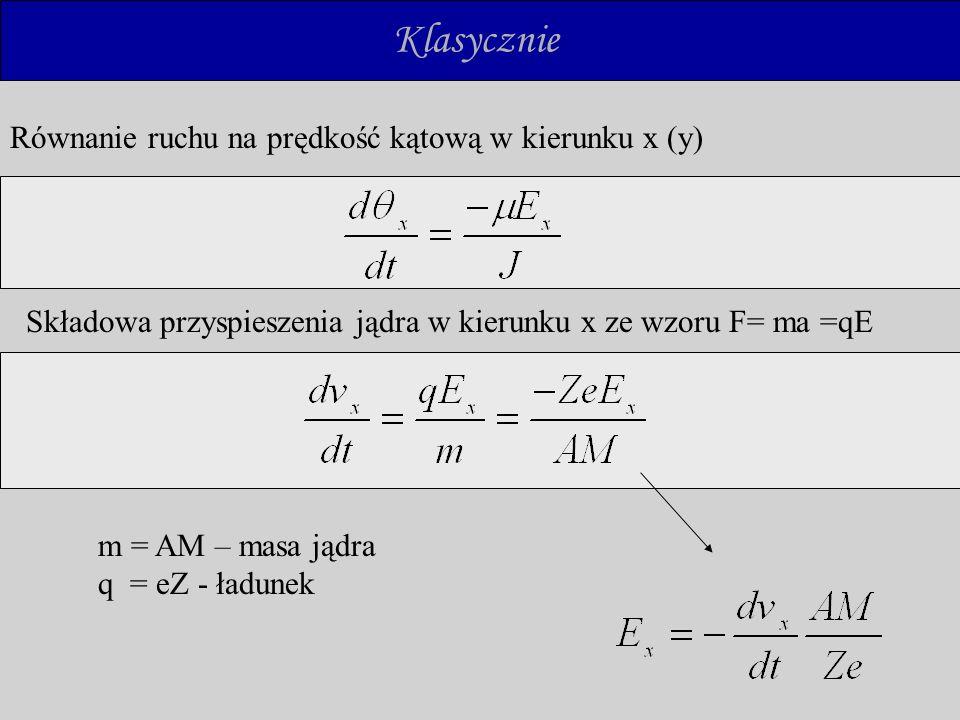Klasycznie Równanie ruchu na prędkość kątową w kierunku x (y)