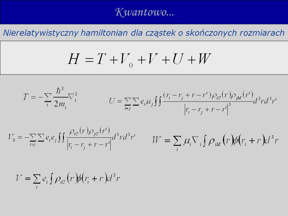 Kwantowo... Nierelatywistyczny hamiltonian dla cząstek o skończonych rozmiarach