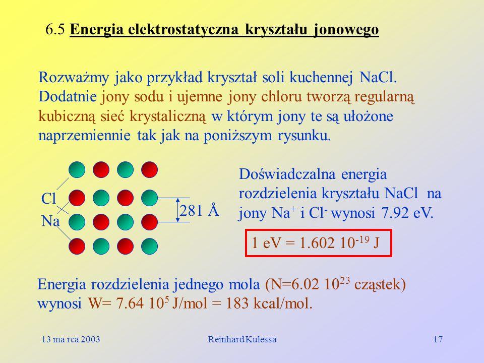 6.5 Energia elektrostatyczna kryształu jonowego