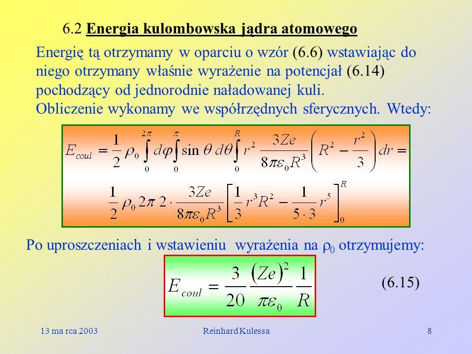 6.2 Energia kulombowska jądra atomowego