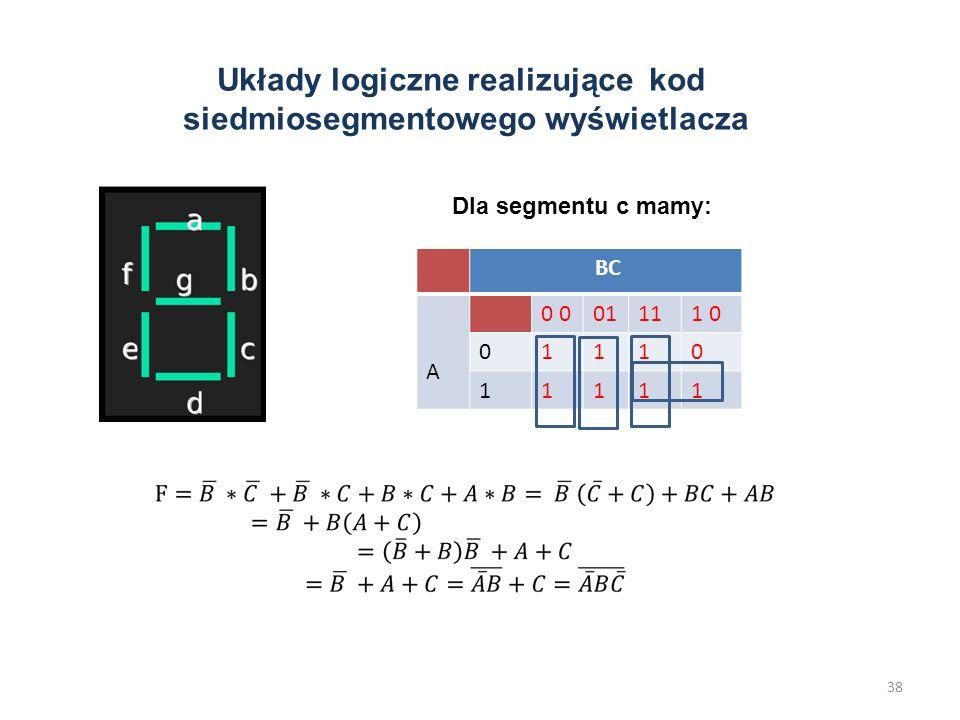 Układy logiczne realizujące kod siedmiosegmentowego wyświetlacza