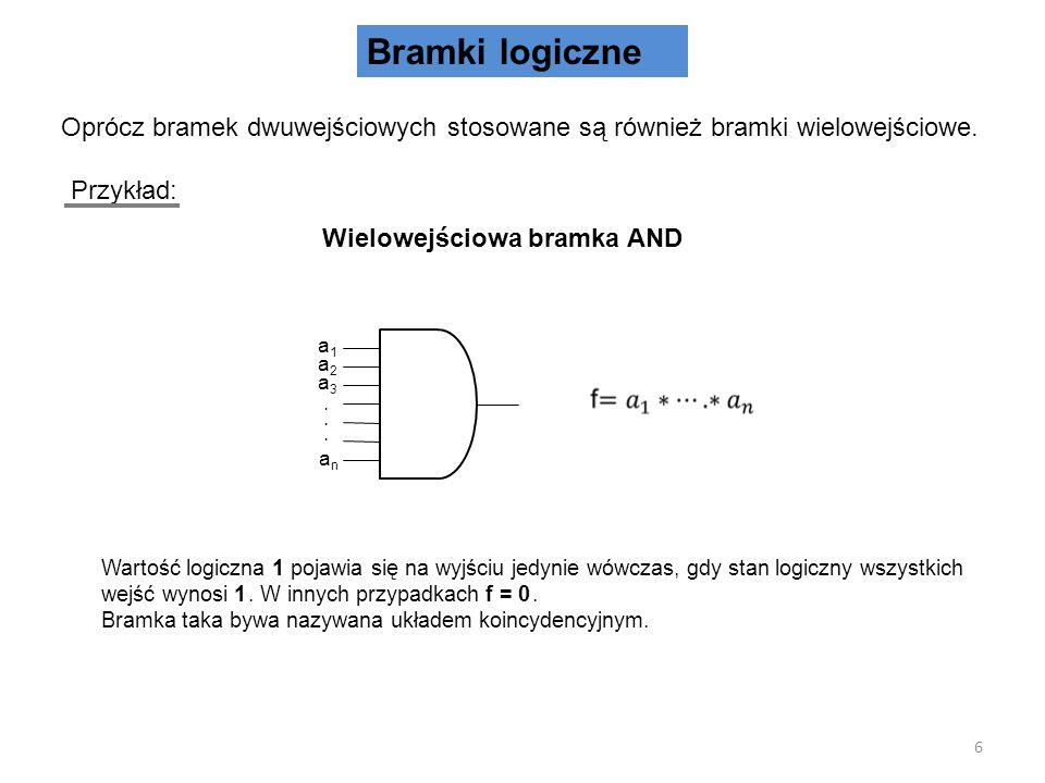 Bramki logiczne Oprócz bramek dwuwejściowych stosowane są również bramki wielowejściowe. Przykład: