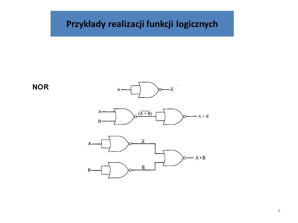 Przykłady realizacji funkcji logicznych