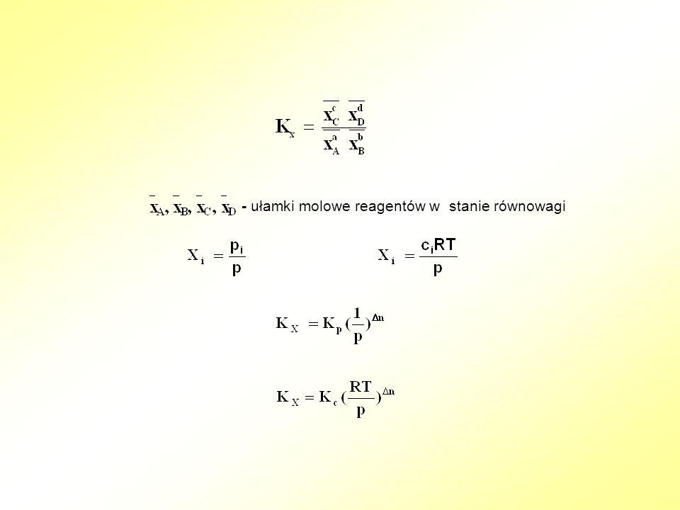 - ułamki molowe reagentów w stanie równowagi