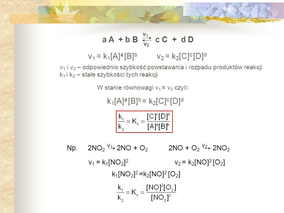 W stanie równowagi v1 = v2 czyli: