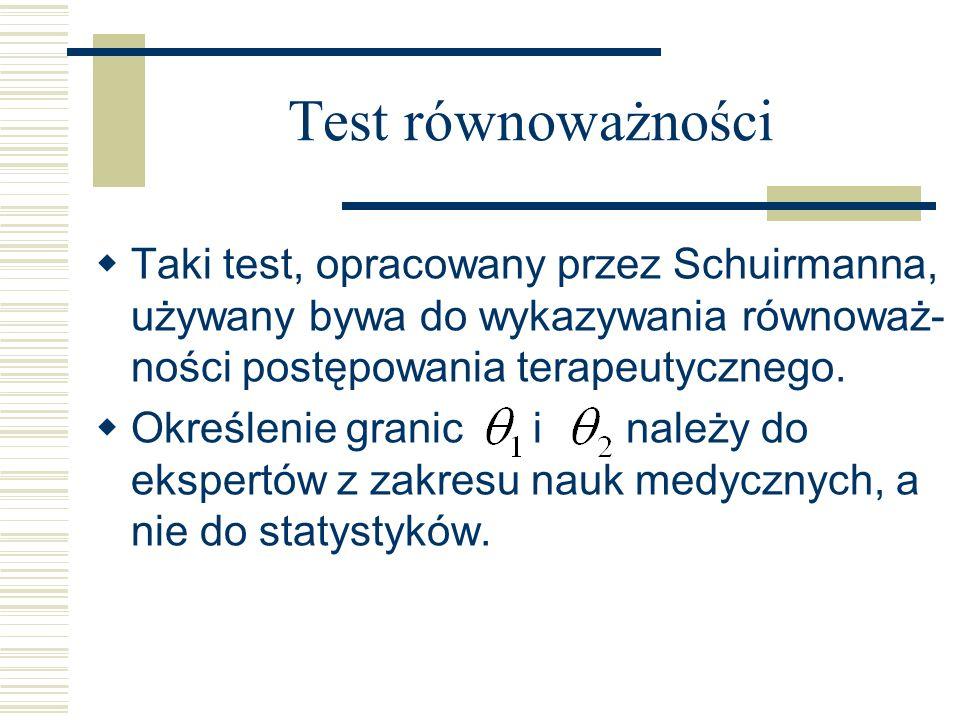 Test równoważności Taki test, opracowany przez Schuirmanna, używany bywa do wykazywania równoważ-ności postępowania terapeutycznego.