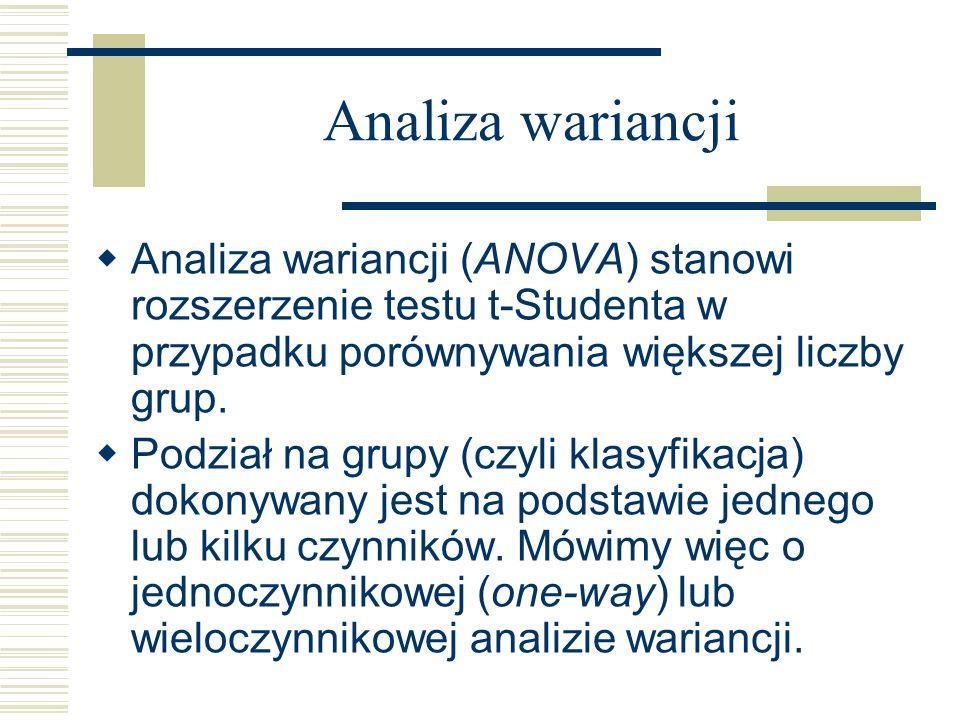 Analiza wariancji Analiza wariancji (ANOVA) stanowi rozszerzenie testu t-Studenta w przypadku porównywania większej liczby grup.