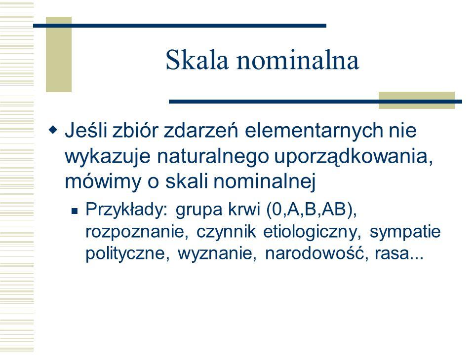 Skala nominalna Jeśli zbiór zdarzeń elementarnych nie wykazuje naturalnego uporządkowania, mówimy o skali nominalnej.