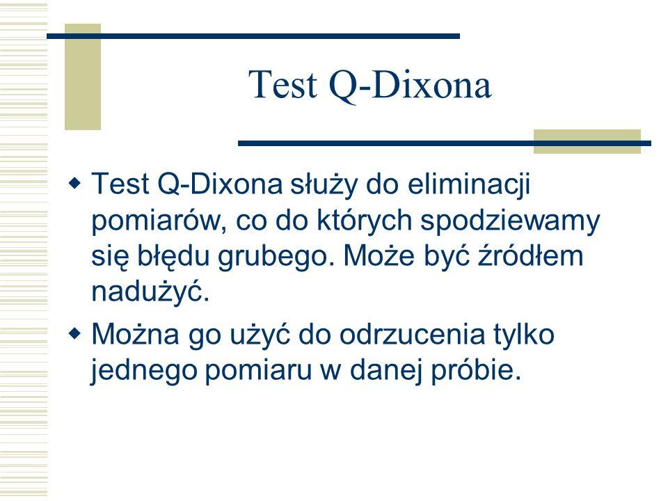 Test Q-Dixona Test Q-Dixona służy do eliminacji pomiarów, co do których spodziewamy się błędu grubego. Może być źródłem nadużyć.