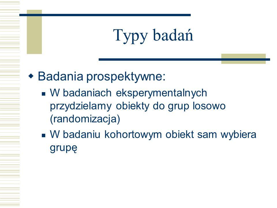 Typy badań Badania prospektywne:
