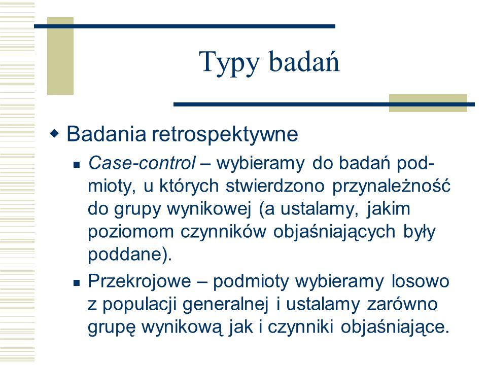Typy badań Badania retrospektywne