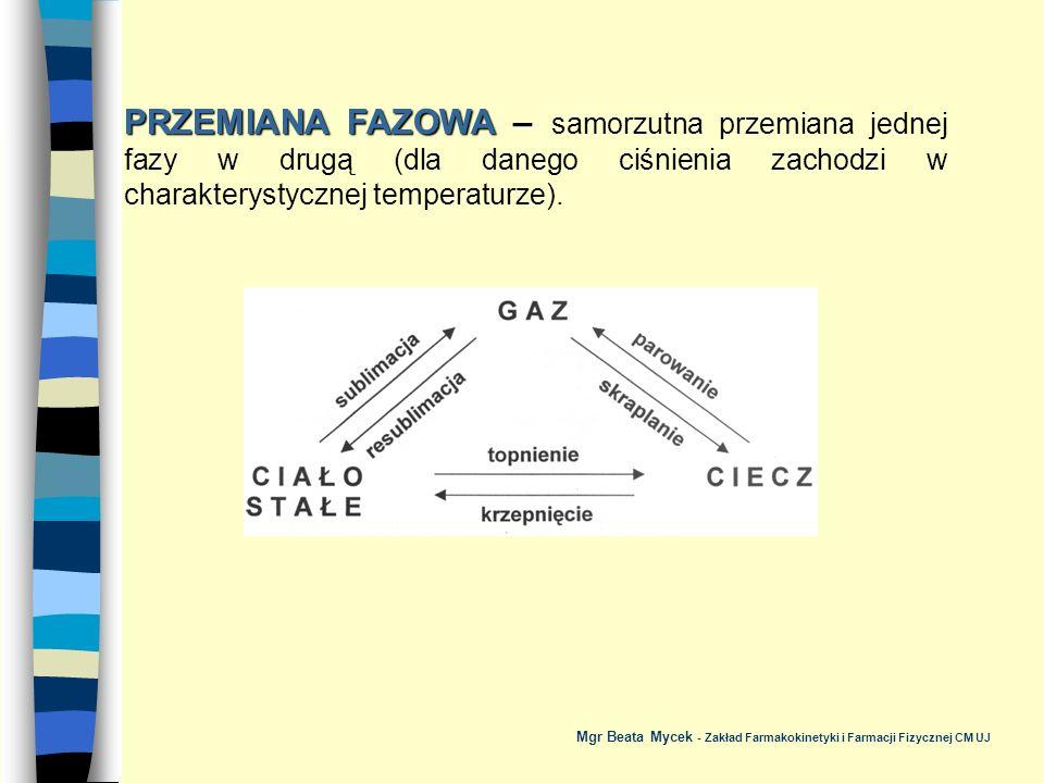 PRZEMIANA FAZOWA – samorzutna przemiana jednej fazy w drugą (dla danego ciśnienia zachodzi w charakterystycznej temperaturze).