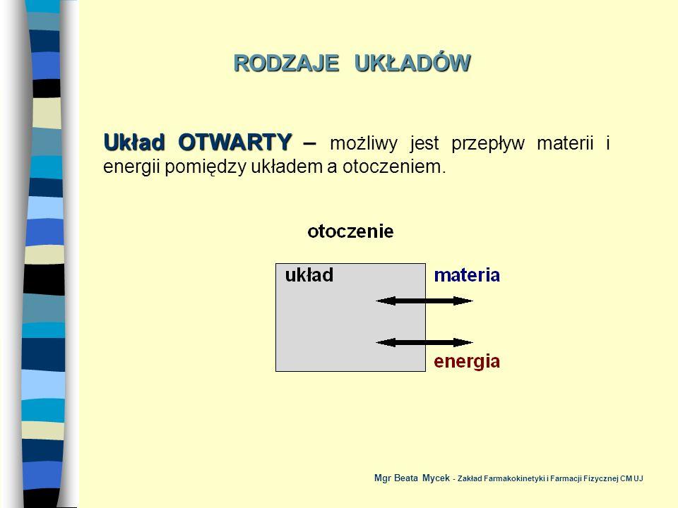 RODZAJE UKŁADÓW Układ OTWARTY – możliwy jest przepływ materii i energii pomiędzy układem a otoczeniem.