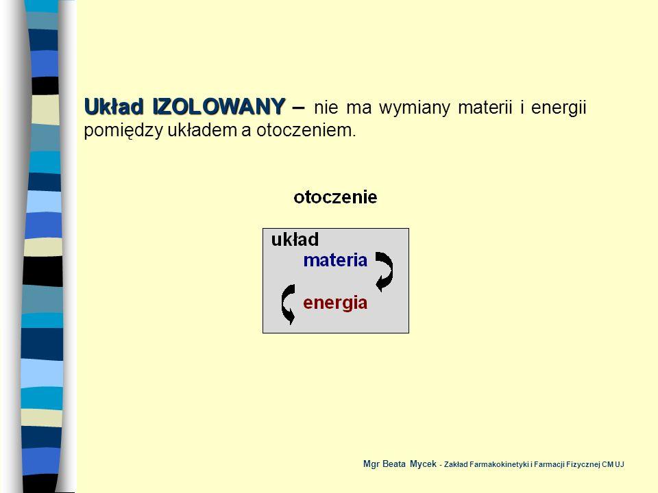 Układ IZOLOWANY – nie ma wymiany materii i energii pomiędzy układem a otoczeniem.