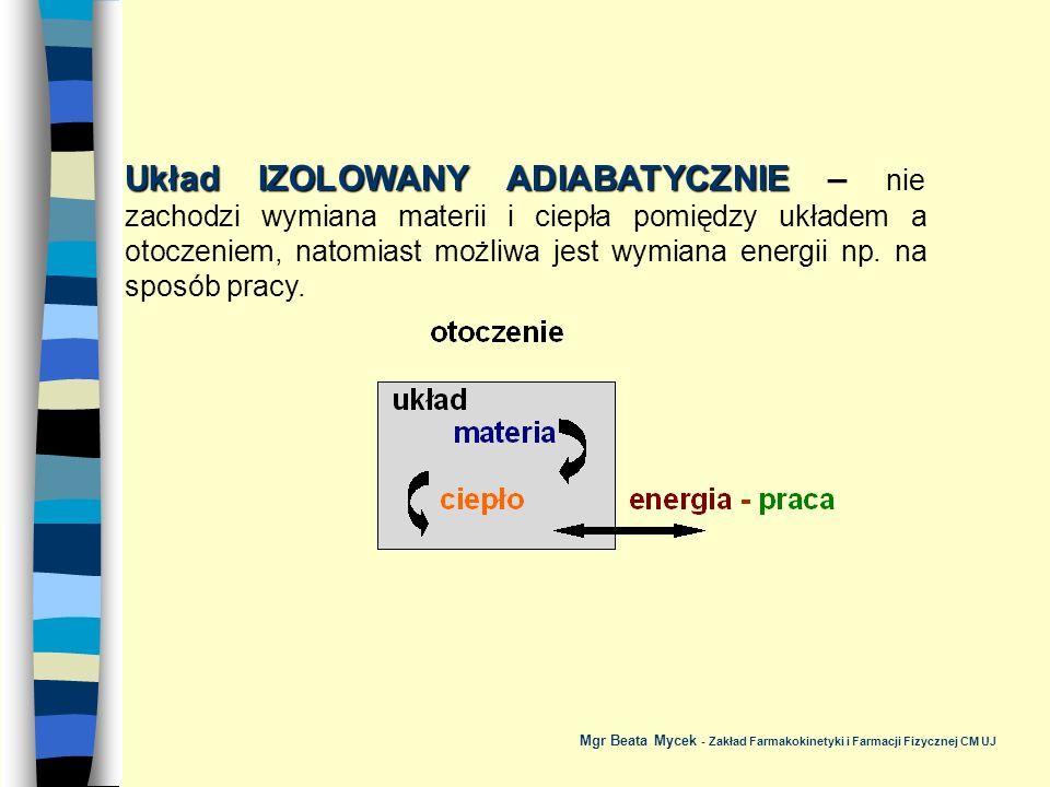 Układ IZOLOWANY ADIABATYCZNIE – nie zachodzi wymiana materii i ciepła pomiędzy układem a otoczeniem, natomiast możliwa jest wymiana energii np. na sposób pracy.
