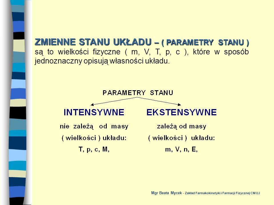 ZMIENNE STANU UKŁADU – ( PARAMETRY STANU ) są to wielkości fizyczne ( m, V, T, p, c ), które w sposób jednoznaczny opisują własności układu.