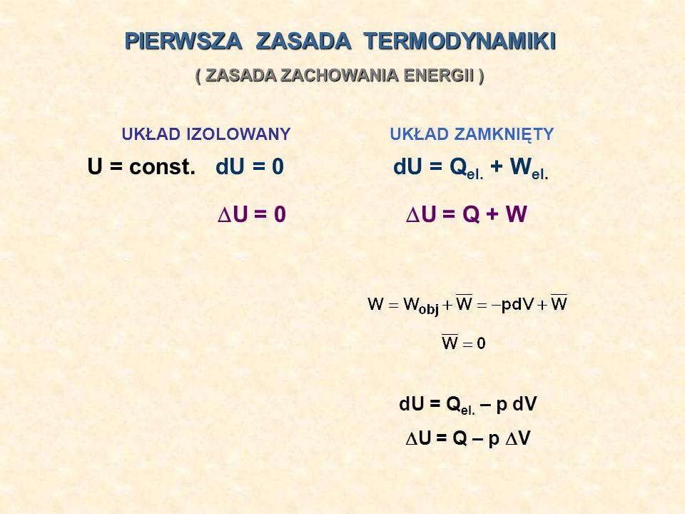 PIERWSZA ZASADA TERMODYNAMIKI ( ZASADA ZACHOWANIA ENERGII )