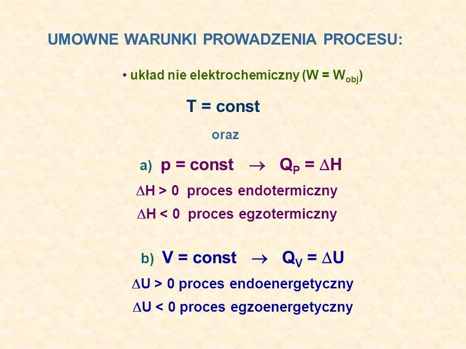 układ nie elektrochemiczny (W = Wobj)