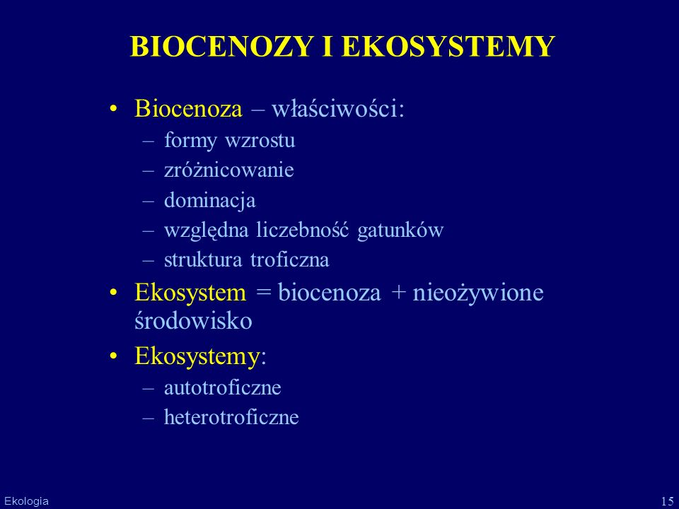 BIOCENOZY I EKOSYSTEMY