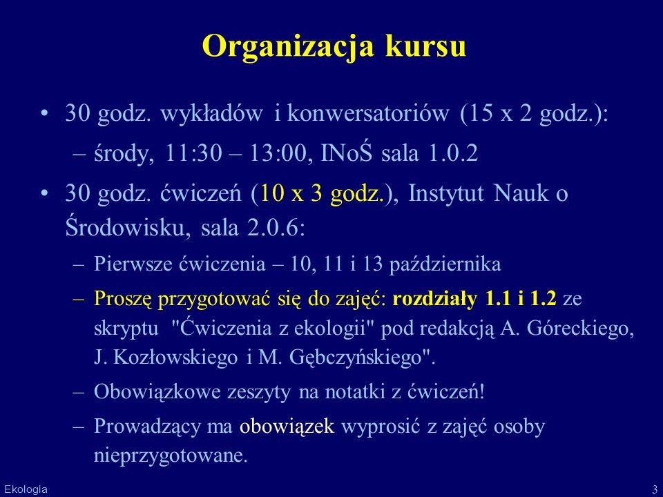 Organizacja kursu 30 godz. wykładów i konwersatoriów (15 x 2 godz.):