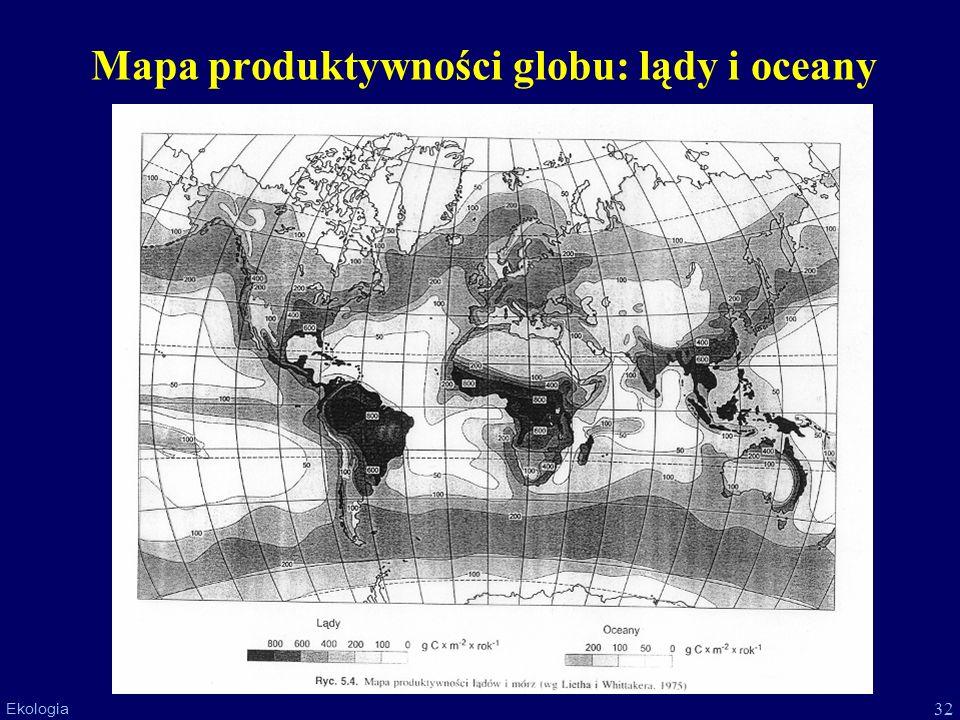 Mapa produktywności globu: lądy i oceany