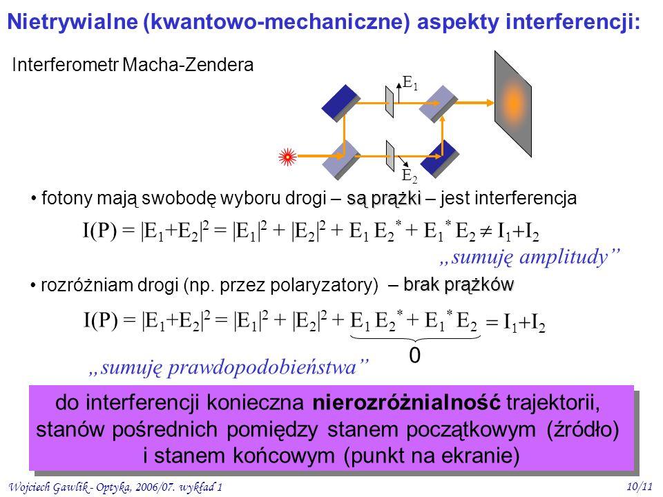Nietrywialne (kwantowo-mechaniczne) aspekty interferencji: