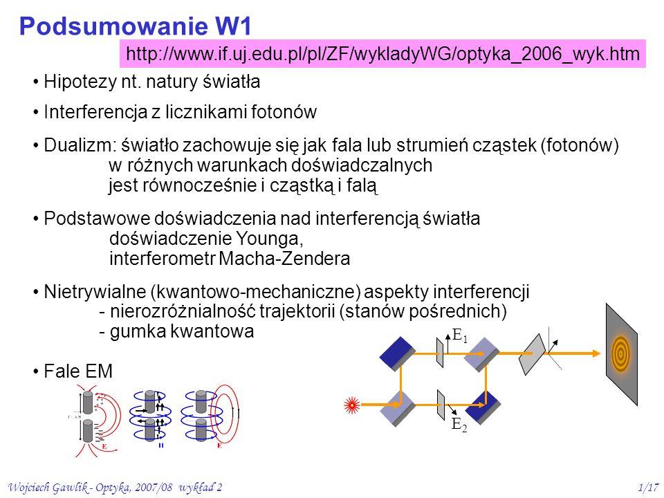 Podsumowanie W1 http://www.if.uj.edu.pl/pl/ZF/wykladyWG/optyka_2006_wyk.htm. Hipotezy nt. natury światła.