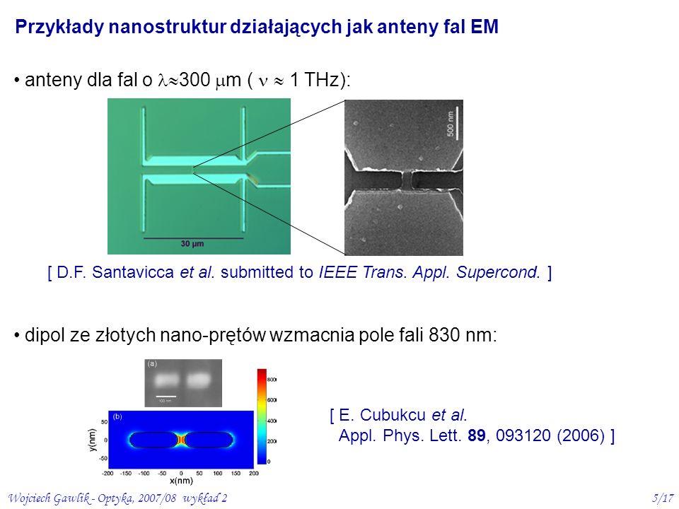 Przykłady nanostruktur działających jak anteny fal EM