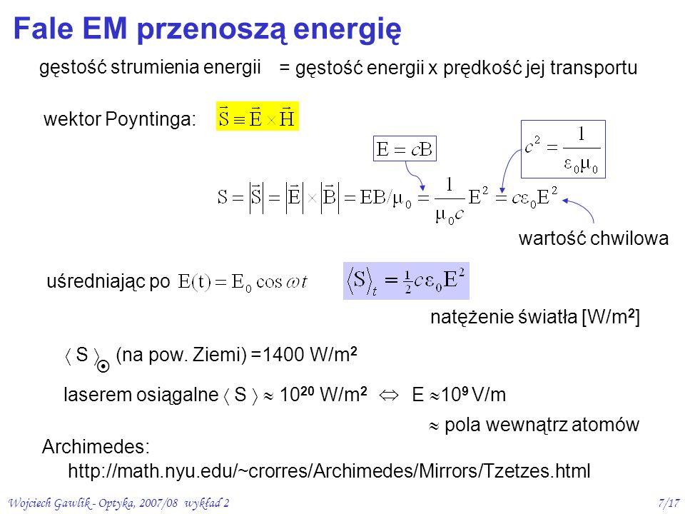 Fale EM przenoszą energię