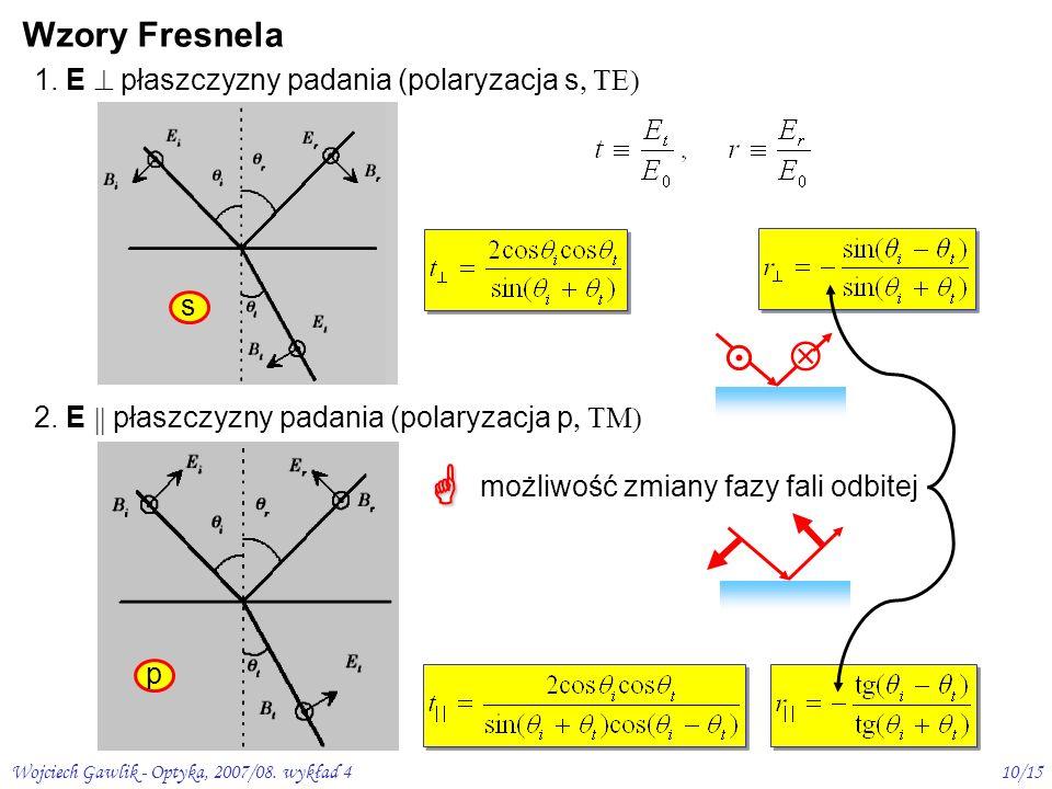   Wzory Fresnela  1. E  płaszczyzny padania (polaryzacja s, TE) s