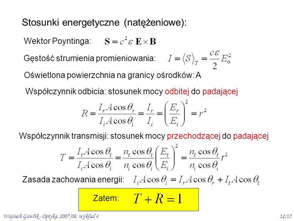 Stosunki energetyczne (natężeniowe):