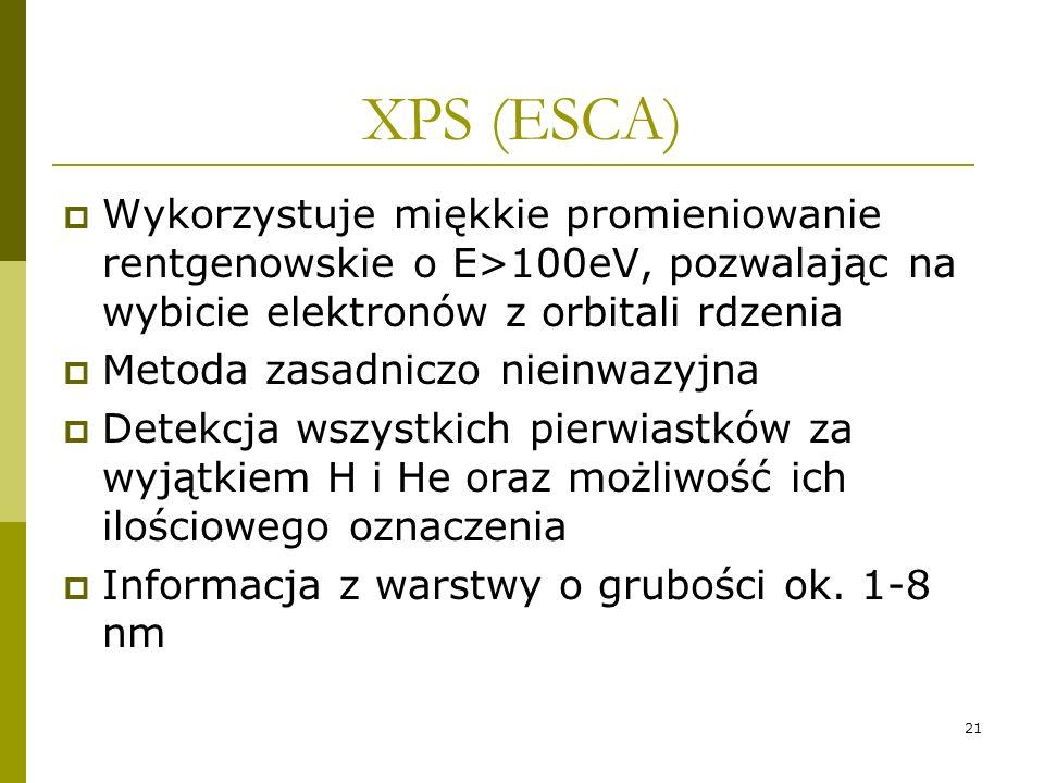 XPS (ESCA)Wykorzystuje miękkie promieniowanie rentgenowskie o E>100eV, pozwalając na wybicie elektronów z orbitali rdzenia.