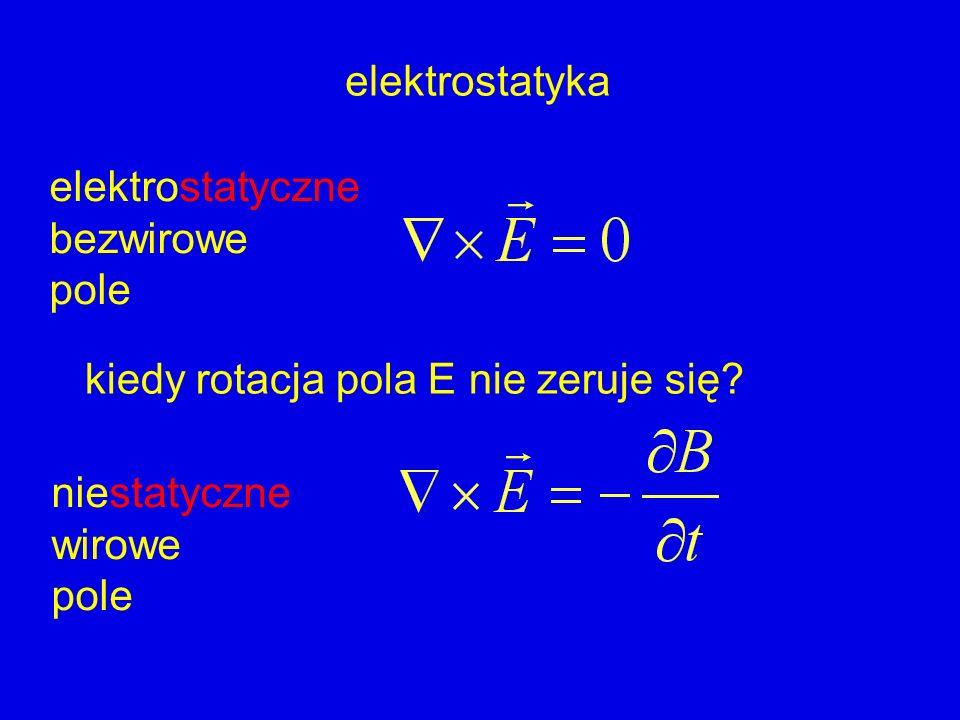 elektrostatyka elektrostatyczne. bezwirowe. pole. kiedy rotacja pola E nie zeruje się niestatyczne.