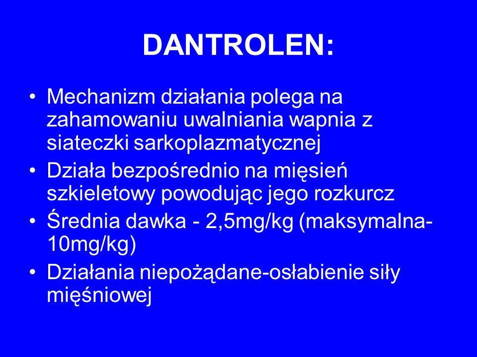 DANTROLEN: Mechanizm działania polega na zahamowaniu uwalniania wapnia z siateczki sarkoplazmatycznej.