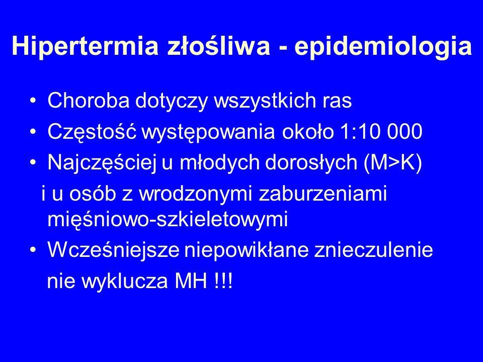 Hipertermia złośliwa - epidemiologia