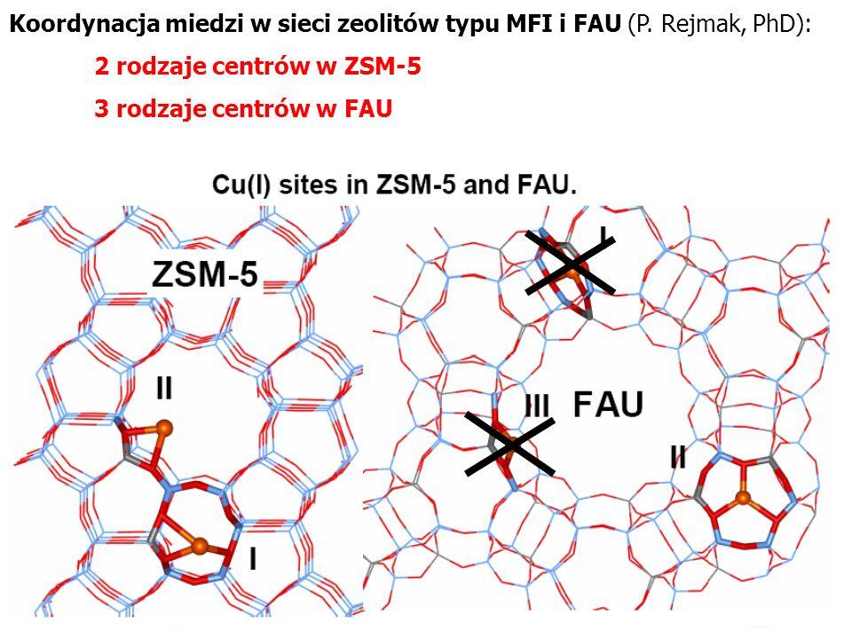 Koordynacja miedzi w sieci zeolitów typu MFI i FAU (P. Rejmak, PhD):