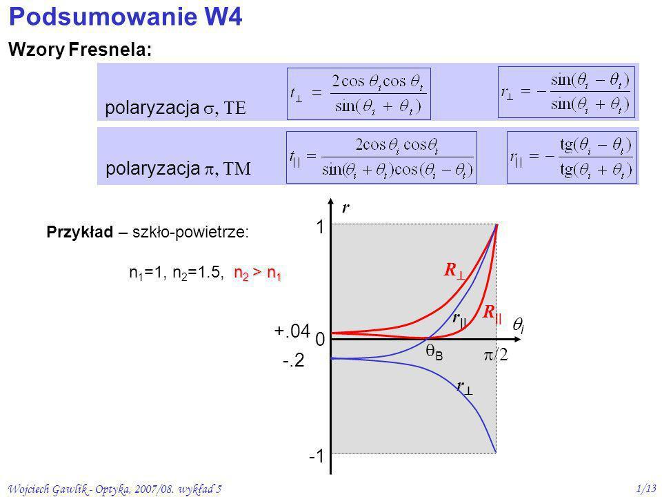 Podsumowanie W4 Wzory Fresnela: polaryzacja , TE polaryzacja , TM r