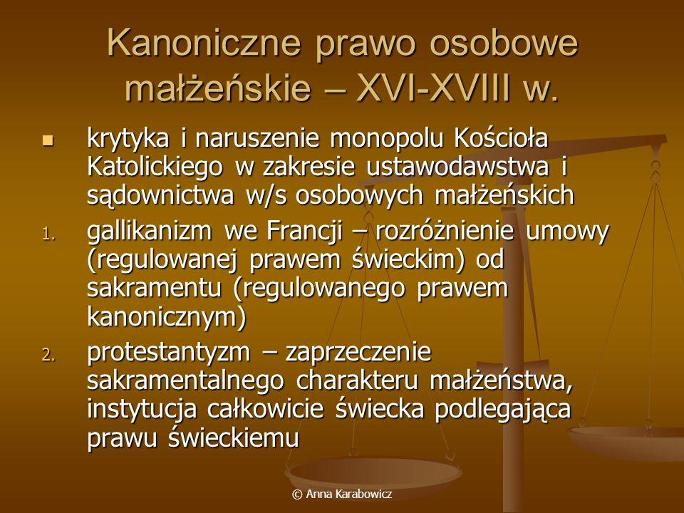 Kanoniczne prawo osobowe małżeńskie – XVI-XVIII w.