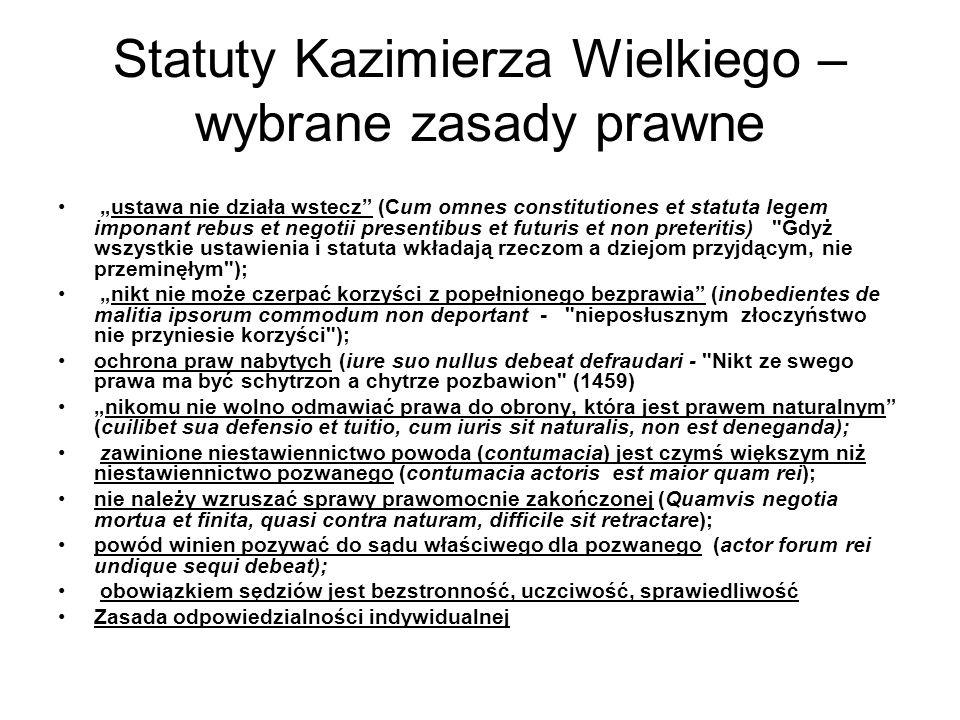 Statuty Kazimierza Wielkiego – wybrane zasady prawne