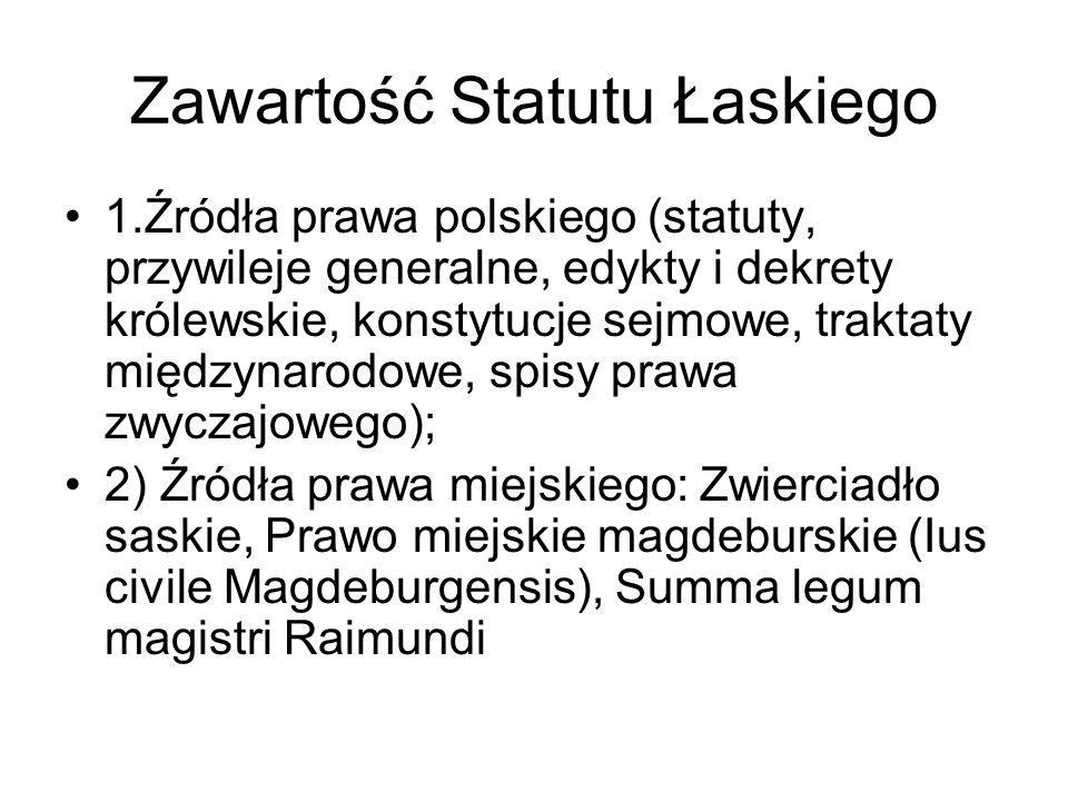 Zawartość Statutu Łaskiego
