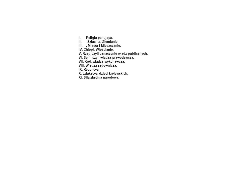 Religia panująca.Szlachta. Ziemianie. . Miasta i Mieszczanie. IV. Chłopi. Włościanie. V. Rząd czyli oznaczenie władz publicznych.