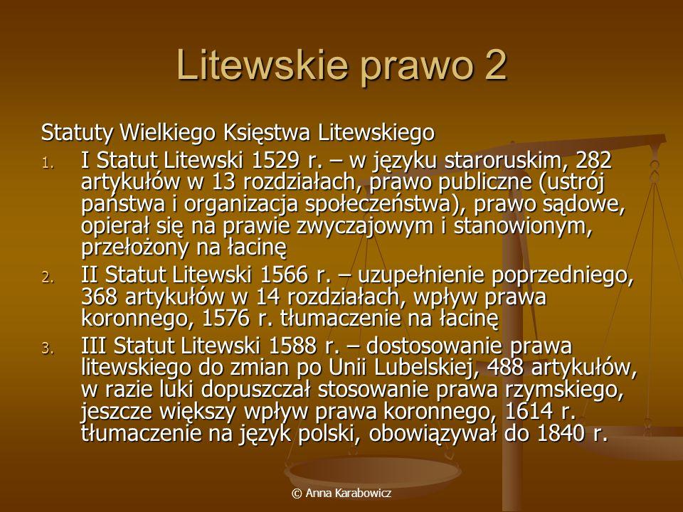 Litewskie prawo 2 Statuty Wielkiego Księstwa Litewskiego