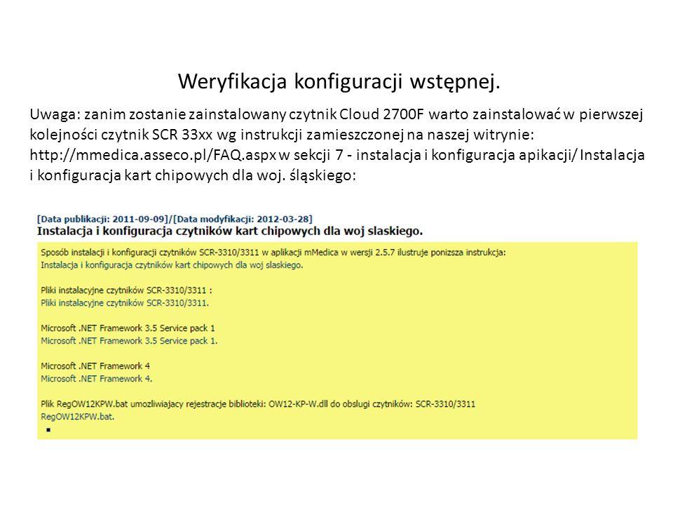 Weryfikacja konfiguracji wstępnej.