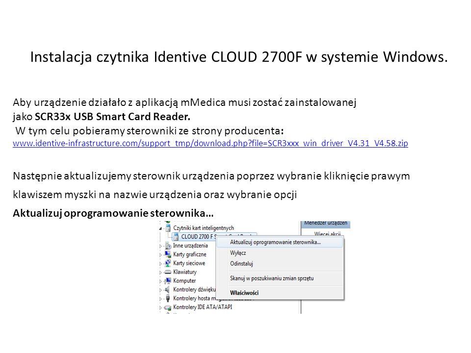 Instalacja czytnika Identive CLOUD 2700F w systemie Windows.