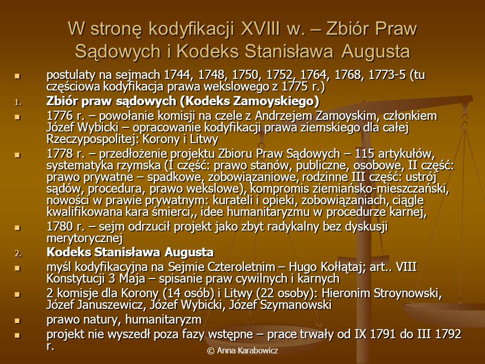 W stronę kodyfikacji XVIII w