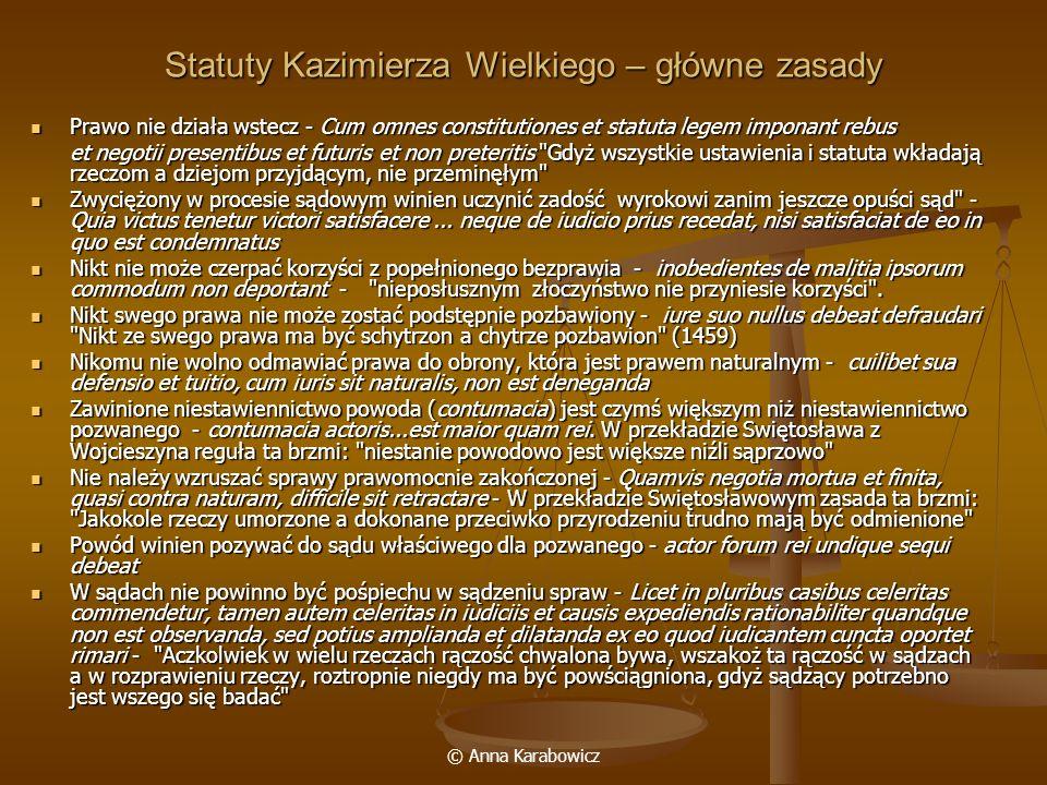 Statuty Kazimierza Wielkiego – główne zasady