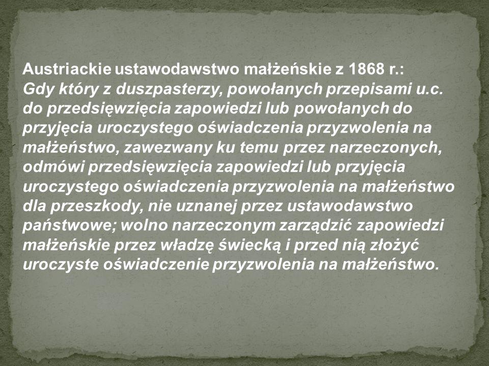 Austriackie ustawodawstwo małżeńskie z 1868 r.: