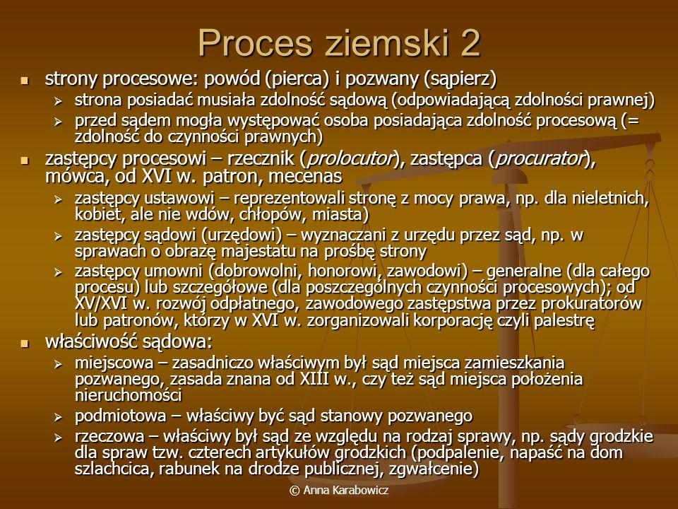 Proces ziemski 2 strony procesowe: powód (pierca) i pozwany (sąpierz)